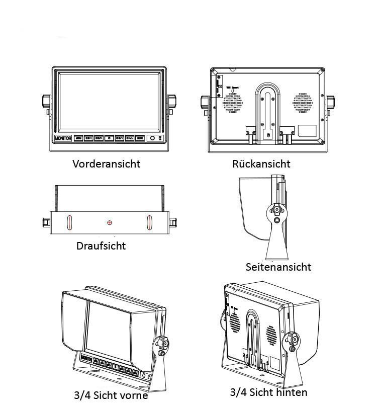 17 8 cm 7 monitor quad ympa rfs st7quad4pin4set auto. Black Bedroom Furniture Sets. Home Design Ideas